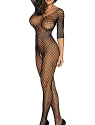 cheap -Women's Mesh Bodysuits Nightwear Houndstooth Red White Black One-Size