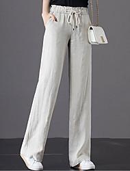 cheap -Women's Basic Loose Cotton Wide Leg Pants - Solid Colored White Orange Green M / L / XL