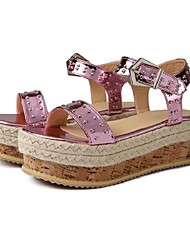 cheap -Women's Sandals Wedge Sandals Summer Wedge Heel Open Toe Daily PU Fuchsia / Gold / Silver