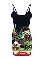 cheap -Women's Bodycon Dress - Sleeveless Geometric Strap Daily Black S M L XL