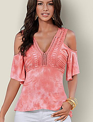 cheap -Women's Solid Colored Cut Out Ruffle Blouse Daily V Neck Blue / Blushing Pink / Dark Gray