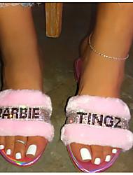 cheap -Women's Slippers & Flip-Flops Summer / Fall Flat Heel Open Toe Casual Daily Home Rhinestone Faux Leather Black / Pink