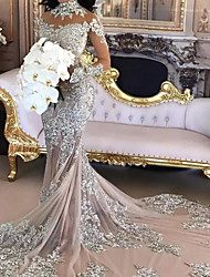 cheap -Mermaid / Trumpet Wedding Dresses High Neck Court Train Polyester Long Sleeve Formal Plus Size with Lace Insert Appliques 2020