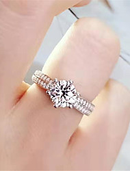 cheap -4 carat Synthetic Diamond Ring Silver For Women's Redian cut Ladies Stylish Luxury Elegant Wedding Party Evening Formal High Quality Classic