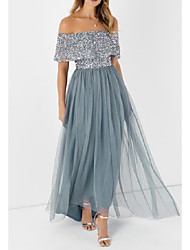 cheap -A-Line Off Shoulder Floor Length Polyester Bridesmaid Dress with Sequin / Tier / Sparkle & Shine