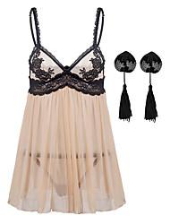 cheap -Women's Lace / Backless / Sequins Plus Size Erotic Suits Nightwear Color Block White Black S M L