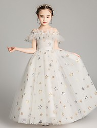 cheap -Ball Gown Floor Length Party / Formal Evening Flower Girl Dresses - Polyester Cap Sleeve Spaghetti Strap with Paillette