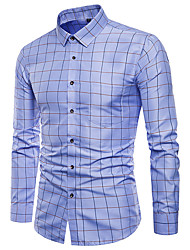 cheap -Men's Party Daily Basic / Punk & Gothic Shirt - Geometric / Houndstooth Blue & White / Red, Print Blue