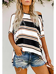 cheap -Women's Striped T-shirt Daily One Shoulder White / Black / Red