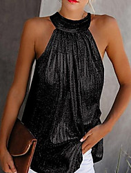 cheap -Women's Plus Size Solid Colored Sequins Cut Out Pleated Tank Top Daily Halter Neck Black / Yellow / Silver