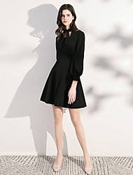 cheap -A-Line Minimalist Black Homecoming Cocktail Party Dress Scoop Neck Long Sleeve Short / Mini Spandex with Bow(s) 2020