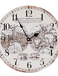 Недорогие -Ностальгическая карта мира мдф настенные часы безрамные декоративные часы 35 * 35 см