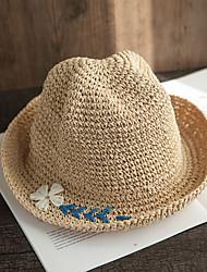 Недорогие -Жен. Для вечеринки Активный Классический Соломенная шляпа Солома,Однотонный Цветочный принт Лето Осень Хаки Цвет радуги