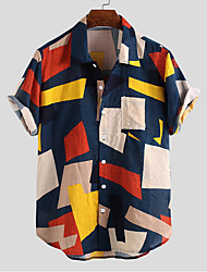cheap -Men's Geometric Shirt Sports White / Blue / Blushing Pink / Green / Short Sleeve