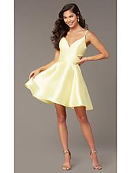 cheap -A-Line Beautiful Back Flirty Homecoming Cocktail Party Dress Spaghetti Strap Sleeveless Short / Mini Satin with Sleek 2020