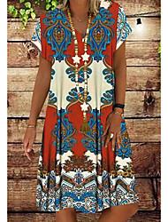 cheap -Women's Plus Size Shift Dress Midi Dress - Short Sleeves Tribal Print Summer V Neck Boho Vacation Red Orange Green S M L XL XXL XXXL XXXXL XXXXXL