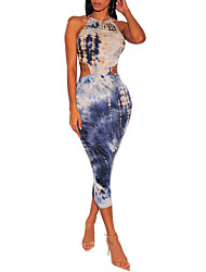 cheap -Women's Bodycon Dress - Sleeveless Tie Dye Backless Lace up Print Crew Neck Basic Street chic Daily Going out Black Blue S M L XL