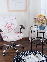 cheap -Pink Floral Print Computer Office Chair Cover Split Protective Stretchable Cloth Polyester Universal Desk Task Chair Chair Covers Stretch Thicken Rotating Chair Slipcover