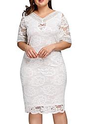 cheap -Women's White Black Dress Sheath Solid Color XL XXL