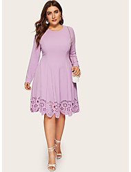 cheap -Women's Plus Size A Line Dress - Long Sleeve Solid Color Cut Out Patchwork Spring & Summer Basic Daily Loose Wine Purple Navy Blue XL XXL XXXL XXXXL XXXXXL