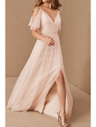 cheap -A-Line V Neck Floor Length Tulle Bridesmaid Dress with Pleats