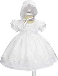 cheap -Princess Knee Length First Communion Christening Gowns - POLY Short Sleeve Jewel Neck with Lace / Bow(s) / Appliques