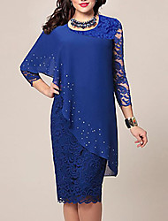 cheap -Women's Plus Size Bodycon Dress - 3/4 Length Sleeve Solid Color Lace Chiffon Wrap Spring Summer For Mother / Mom Going out Blue Green S M L XL XXL XXXL XXXXL XXXXXL