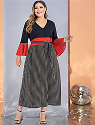 cheap -Women's Plus Size Maxi A Line Dress - Long Sleeve Striped Color Block Solid Color Patchwork Spring & Summer Fall & Winter V Neck Casual Street chic Daily Going out Flare Cuff Sleeve Black L XL XXL