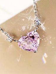 Недорогие -4 карата Синтетический алмаз Цепочка Серебристый Назначение Жен. В форме сердца лакомство Дамы Роскошь Элегантный стиль Свадьба Вечерние Официальные Высокое качество Подвеска