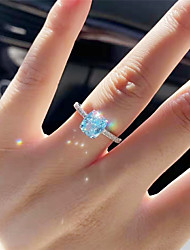 cheap -4 carat Synthetic Sapphire Ring Silver For Women's Oval cut Stylish Luxury Elegant Bridal Wedding Party Evening Formal High Quality Big