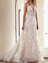 cheap -A-Line Wedding Dresses V Neck Sweep / Brush Train Lace Tulle Sleeveless Country Plus Size with Embroidery 2020