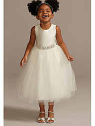 cheap -A-Line Ankle Length Wedding Flower Girl Dresses - Tulle Sleeveless Jewel Neck with Beading / Solid