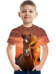 cheap -Kids Boys' Basic Streetwear Horse Color Block 3D Animal Print Short Sleeve Tee Navy Blue