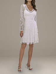 cheap -A-Line Wedding Dresses V Neck Short / Mini Lace Tulle Long Sleeve Country Plus Size with Embroidery Appliques 2020