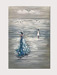 cheap -Hand-Painted Beautiful Travel Girl Modern Oil Painting on Canvas Sea Landscape Wall Art for Home Decoration with Frame Ready to Hang