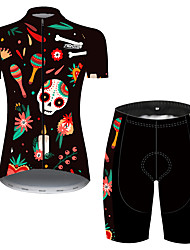 cheap -21Grams Women's Short Sleeve Cycling Jersey with Shorts Summer Spandex Polyester Black / Red Sugar Skull Skull Floral Botanical Bike Clothing Suit Ultraviolet Resistant Quick Dry Breathable Back