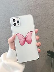 cheap -Case For Apple iPhone 11  11 Pro  11 Pro Max Single red butterfly TPU material Painting process scratch proof phone case