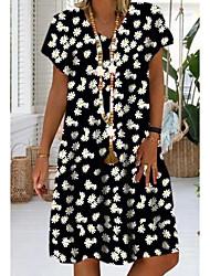cheap -Women's Shift Dress Daisy Knee Length Dress - Short Sleeves Floral Print V Neck Casual Black Red Light Green S M L XL XXL XXXL XXXXL XXXXXL