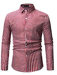 cheap -Men's Party Daily Basic / Punk & Gothic Shirt - Geometric / Houndstooth Blue & White / Red, Print Yellow
