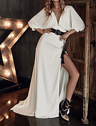 cheap -A-Line Wedding Dresses Plunging Neck Sweep / Brush Train Stretch Satin 3/4 Length Sleeve Country Plus Size with Split Front Crystal Brooch 2021