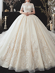 cheap -Ball Gown Wedding Dresses High Neck Watteau Train Lace Tulle Short Sleeve Formal Wedding Dress in Color with Appliques 2020