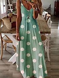 cheap -Women's Maxi A Line Dress - Sleeveless Polka Dot Spring & Summer Strap Holiday Vacation Beach Blushing Pink Green Gray S M L XL XXL XXXL