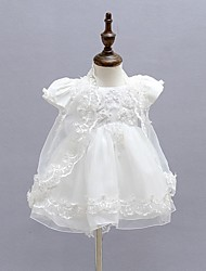 cheap -Ball Gown Ankle Length First Communion Christening Gowns - Polyester Short Sleeve Jewel Neck with Faux Pearl / Lace / Bow(s)