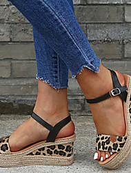 cheap -Women's Sandals Wedge Sandals 2020 Spring &  Fall / Spring & Summer Wedge Heel Open Toe Vintage Minimalism Daily Party & Evening Leopard PU Black / White / Leopard