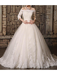 cheap -Ball Gown Wedding Dresses Off Shoulder Court Train Polyester 3/4 Length Sleeve Country Plus Size with Lace Insert Appliques 2021