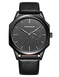 cheap -Men's Dress Watch Japanese Quartz Genuine Leather 30 m Water Resistant / Waterproof Day Date Analog Fashion Cool - Black / Silver Black+Gloden Black+Grey One Year Battery Life