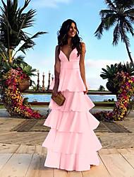 Недорогие -Tier A-Line Красивая спина макси без рукавов V шеи Длина пола атласное платье выпускного вечера