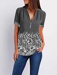 cheap -Women's Daily Casual Blouse - Leopard Print V Neck Blue / Summer