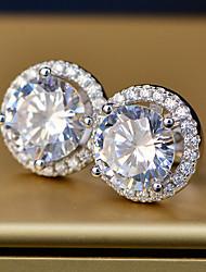 Недорогие -2 карата Синтетический алмаз Серьги Сплав Назначение Жен. Принцесса вырезать Дамы Стиль Простой Роскошь Свадьба Вечерние Официальные Высокое качество Классический 1 пара