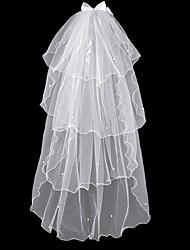 Недорогие -Четыре слоя Простой Свадебные вуали Фата до плеч с Искусственный жемчуг 15,75 В (40 см) Тюль